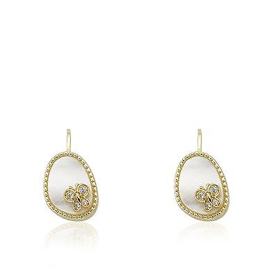 Girls Ear Earrings Fashion Jewelry Mother Of Pearl Lever-Back With Cz Butterfly