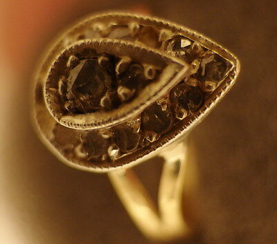 3142 Antique 18K Gold Georgian Diamond Ring, Exquisite Tear Shaped, Circa 1810