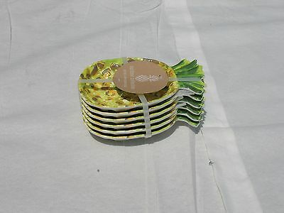 New! Outdoor Collection Pineapple Melamine Appetizer Snack Dessert 6 Plates