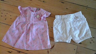 Pretty pink floral baby girl 9 - 12 month summer top and spotty shorts