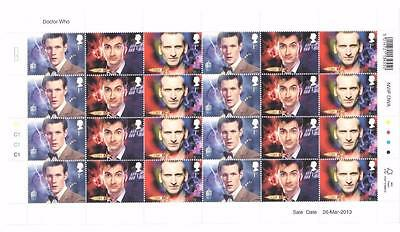 DOCTOR WHO 2013 STAMP SHEETS 1 2 & 3 with POST OFFICE BROCHURE - NEW & UNUSED