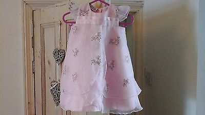 Pretty pink floral summer baby girl party dress size 3 - 6 months with head band