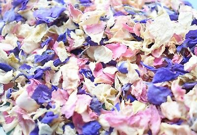 Slowfall Real Dried Petal Biodegradable Wedding Confetti Ivory Pink Purple  1L