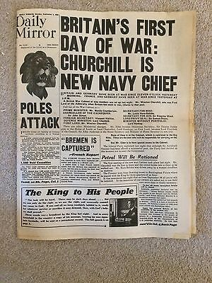 """Daily Mirror September 4th 1939 """"Britain's First Day of War"""""""