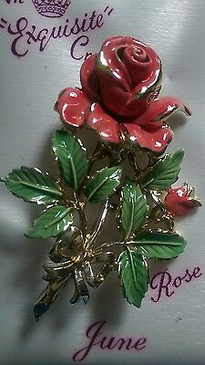 Vintage 1950 Exquisite June rose birthday brooch pin  orignal box with documents