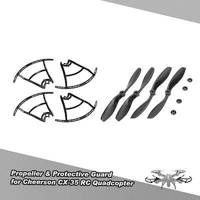 Upgrade 2 Pair of CW/CCW Propeller&4pcs Protective Guard for Cheerson CX-35 J8X7