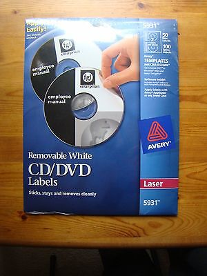 Avery 5931 removable white CD/DVD labels