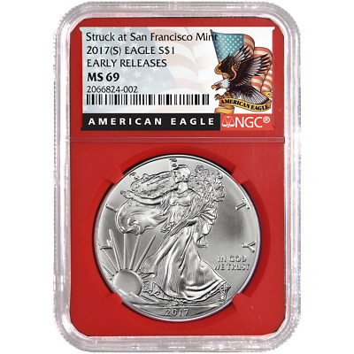 2017 (S) $1 American Silver Eagle NGC MS69 Black ER Label Red Core