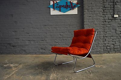 Retro Vintage Mid Century Peter Hoyte Chrome Sling Lounge Chair Reupholstered