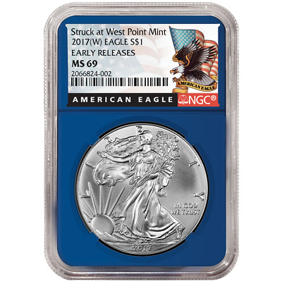 2017 (W) $1 American Silver Eagle NGC MS69 Black ER Label Blue Core