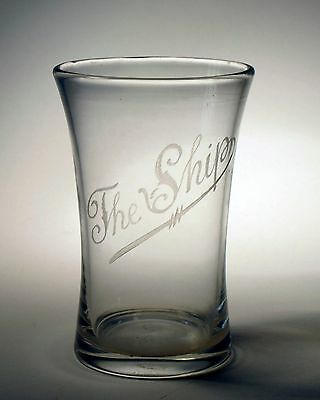 Antique Victorian pub glass hand blown 19thC engraved ' The Ship '