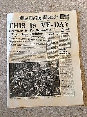 """The Daily Sketch May 8th 1945 """"This Is VE - DAY"""""""