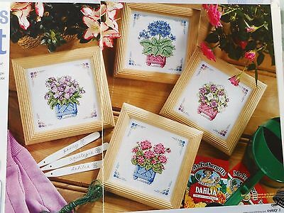 Flower Filled Containers, 4 Pretty, Floral Cross Stitch Charts