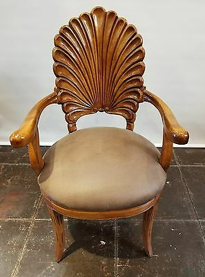 Italian Venetian Carved Wood Shell Back Grotto Armchair with Sabre Legs