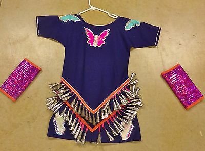 Native American BUTTERFLY JINGLE Dress Seminole Girl Dance Regalia Purple Medium