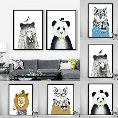 Canvas Painting Animal Printed Picture Poster Art Home Kids Room Decor Unframed