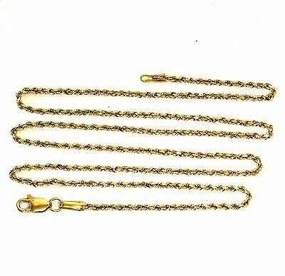 "14k yellow gold rope necklace chain estate 1.5mm vintage antique 18"" 3.7g"