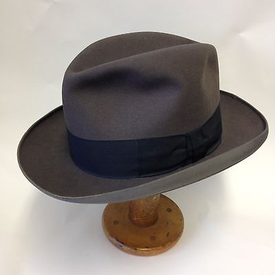 Vintage G.A Dunn & Co Grey Felt Homburg Hat Trimmers Union Made Size 6 3/4 55cm