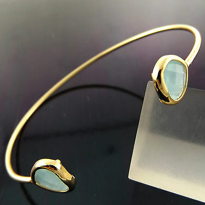 A885 Genuine Real 18K Yellow G/f Gold Ladies Turquoise Cuff Bangle Bracelet