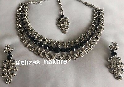 Indian/Pakistani Bollywood Style Black And Silver Necklace, Earring & Tikka Set