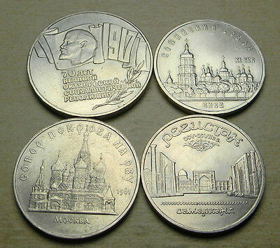 Russia 1987,1988 1989 (2) 5 Roubles--all coins unc.