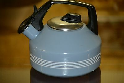 VINTAGE 1970's BLUE ENAMEL OVER STEEL WHITE STRIPED TEA POT WITH WHISTLE