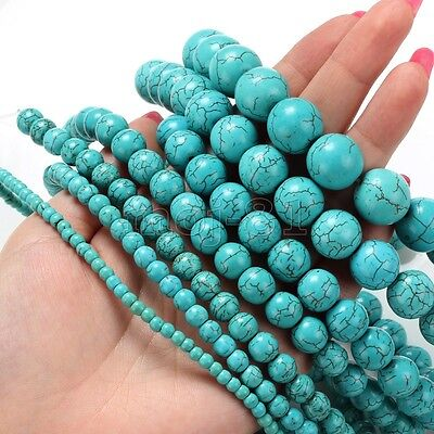 4/6/8/10/12/14MM Natural Blue Howlite Turquoise Round Gemstone Loose Beads 15''