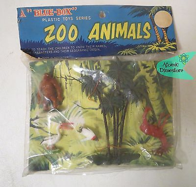 Vintage 1960s BLUE BOX TOYS Zoo Animals DIMESTORE PLAYSET MINT IN PACKAGE