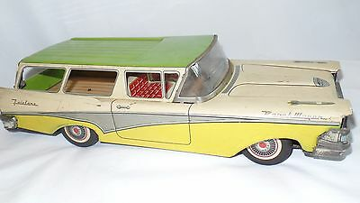 Vintage 1959 Tin Ford Fairlane Ranch Wagon Friction 62243 Yellow Green Toy Japan