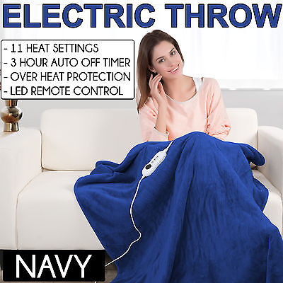 NAVY Coral Fleece Heated Electric Throw Rug Snuggle Blanket 11 Settings Winter