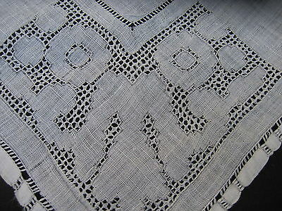 antique hand embroidered Drawn work pulled thread linen handkerchief vtg Bride