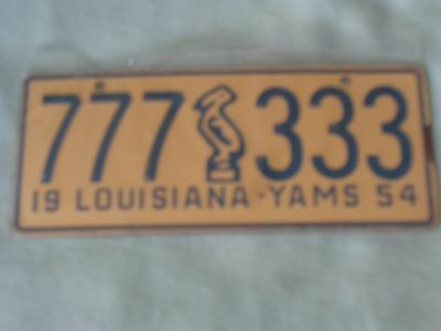 Vintage  POST CEREAL 1954 Louisiana  Mini Bicycle LICENSE PLATE 777 333