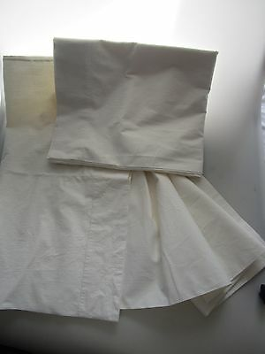 Pair of VINTAGE White Cotton Bolster Double Pillow Case 21 x 72 inches