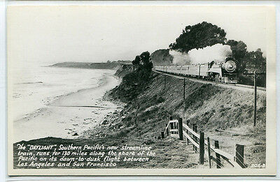 SP Southern Pacific Daylight Express Railroad Train RPPC Real Photo postcard