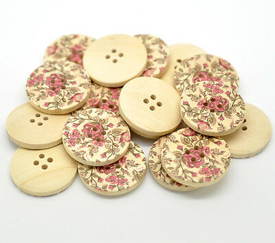 Pack of 5 Pretty Pink Floral Design Decorative Buttons 30mm Wooden Craft/Sewing