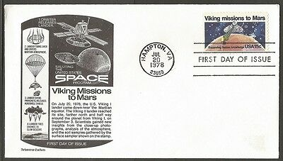 Us Fdc 1978 Viking Missions To Mars 15C #1759 Aristocrat Cachet First Day Cover