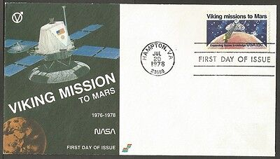 Us Fdc 1978 Viking Missions To Mars 15C #1759 Spectrum First Day Of Issue Cover