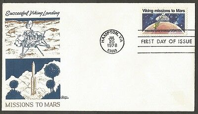 Us Fdc 1978 Viking Missions To Mars 15C #1759 Bazaar First Day Of Issue Cover