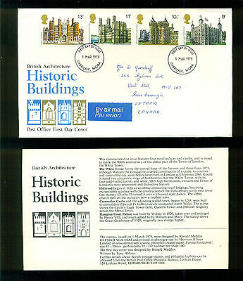 UK GREAT BRITAIN: Post Office First Day Cover BRITISH ARCHITECTURE 1978