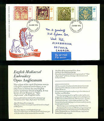 UK GREAT BRITAIN: Post Office First Day Cover CHRISTMAS 1976