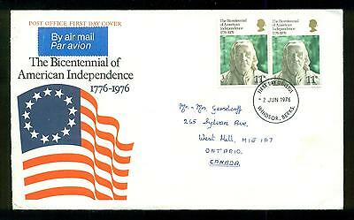 UK GREAT BRITAIN: Post Office First Day Cover AMERICAN INDEPENDENCE 1976