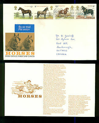 UK GREAT BRITAIN: Post Office First Day Cover HORSES