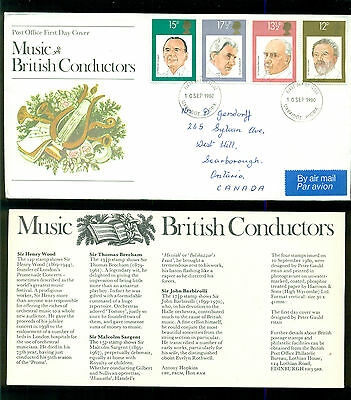UK GREAT BRITAIN: Post Office First Day Cover MUSIC BRITISH CONDUCTORS 1980