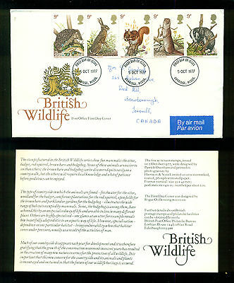 UK GREAT BRITAIN: Post Office First Day Cover BRITISH WILDLIFE 1977
