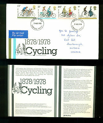UK GREAT BRITAIN: Post Office First Day Cover CYCLING 1978