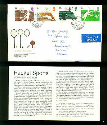 UK GREAT BRITAIN: Post Office First Day Cover RACKET SPORTS 1977