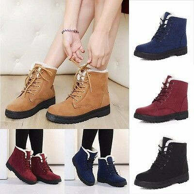 AU 2018 Winter Womens Fur Lined Boots Flat Lace Up Warm Snow Ankle Boots Shoes