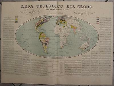 1880ca MORALES & NEUSSEL WALL ANTIQUE ORIGINAL LITHOGRAPHIC GEOLOGICAL WORLD MAP