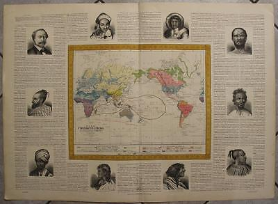 1880ca MORALES & NEUSSEL WALL ANTIQUE LITHOGRAPHIC ETHNOGRAPHIC WORLD MAP