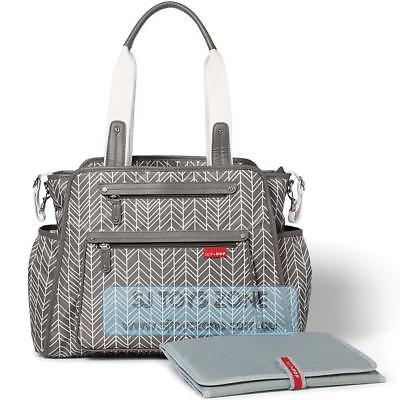 Skip Hop Grand Central Diaper Bag with Cushioned Changing Pad - Grey Feather